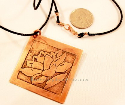 Large Copper Diamond Lotus Pendant on White with Clasp Perspective