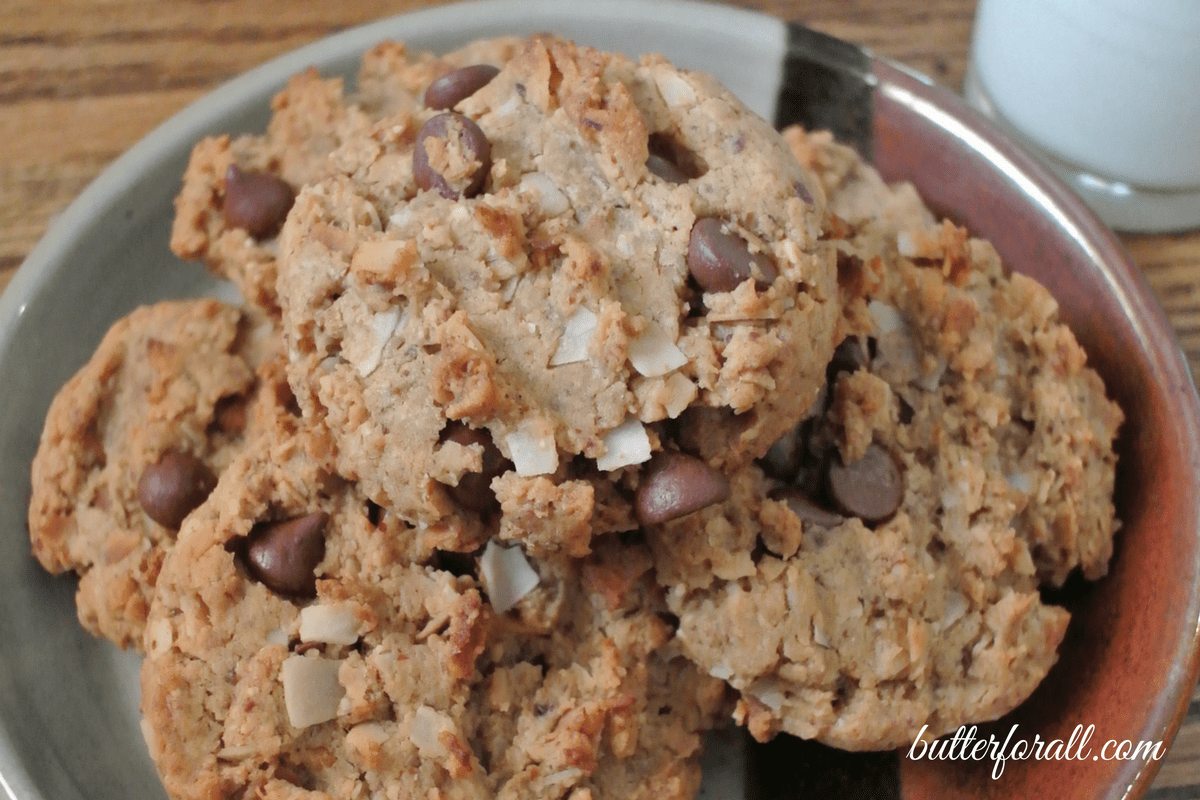 Almond Joyful Cookies -Almond Butter, Toasted Coconut And Chocolate Chips