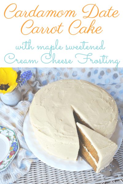 This Cardamom scented carry cake is sweetened with earth dates and frosted with a maple sweetened cream cheese frosting. This is a healthy cake that tastes absolutely sinful! #realfood #easter #spring #dates #refinedsugarfree #birthday