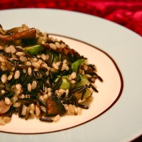 brown and wild rice with mushrooms and brussel sprouts