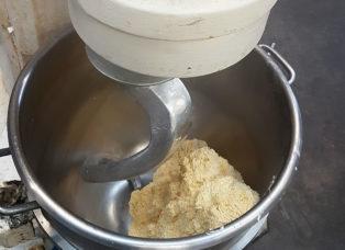 Butter block into an industrial mixer
