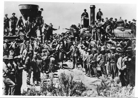 The Golden Spike Ceremony at Promontory, Utah, 05/10/1869. National Archives photo.