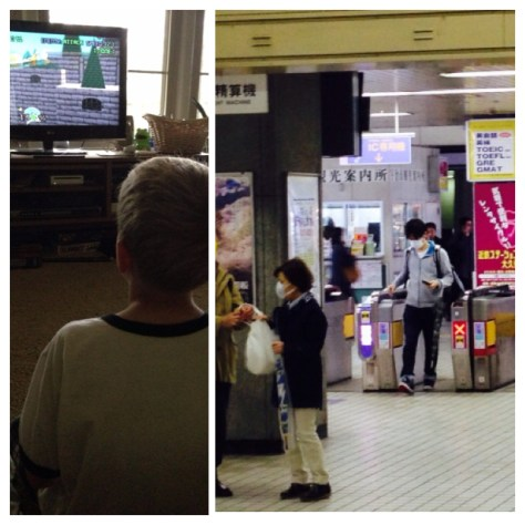 Tuesday, April 14. 9am. Some video games before school. / Navigating the train station in Kyoto.