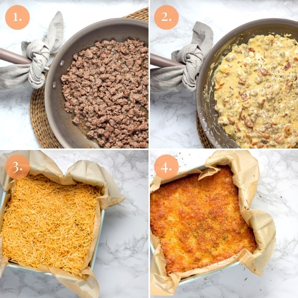 Step by step how to make this low carb bacon cheeseburger casserole