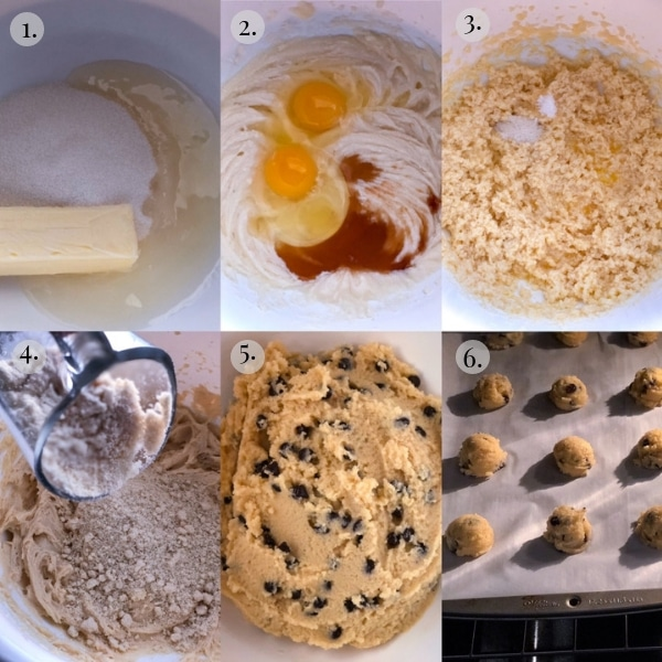 6 photo collage of how to make keto chocolate chip cookies