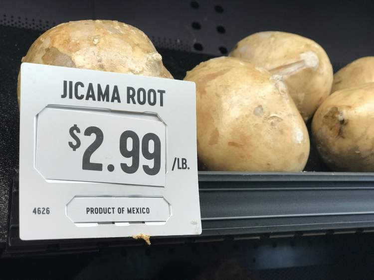 display of jicama root with sale price per pound
