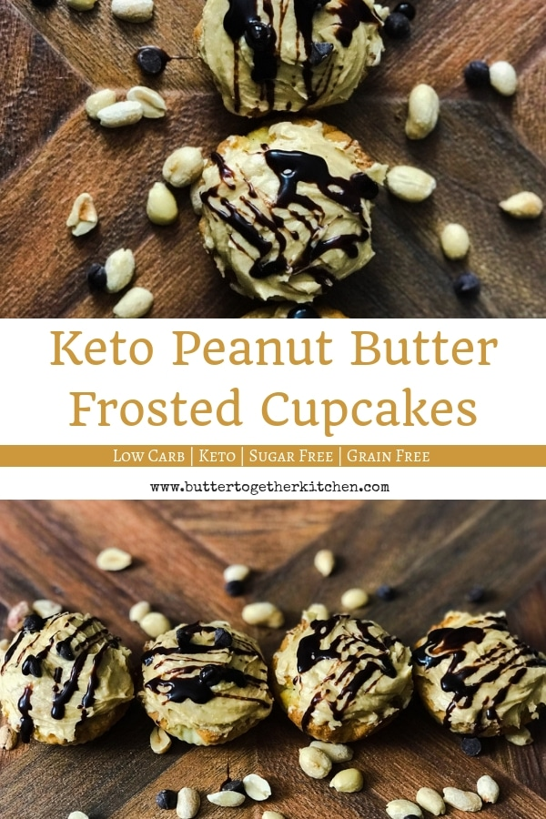 Low Carb Peanut butter Frosted Cupcakes #ketorecipe #keto #lowcarb #ketodesserts #ketocupcakes #lowcarbcupcakes #ketocake #easyketorecipe #sugarfree | buttertogetherkitchen.com