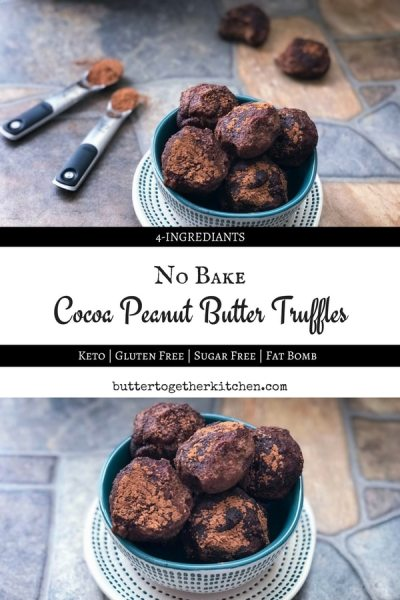 Cocoa peanut butter truffles make for an easy low carb treat! These creamy, no-bake, truffles are packed with peanut butter and chocolate flavor that makes them so irresistibly good!