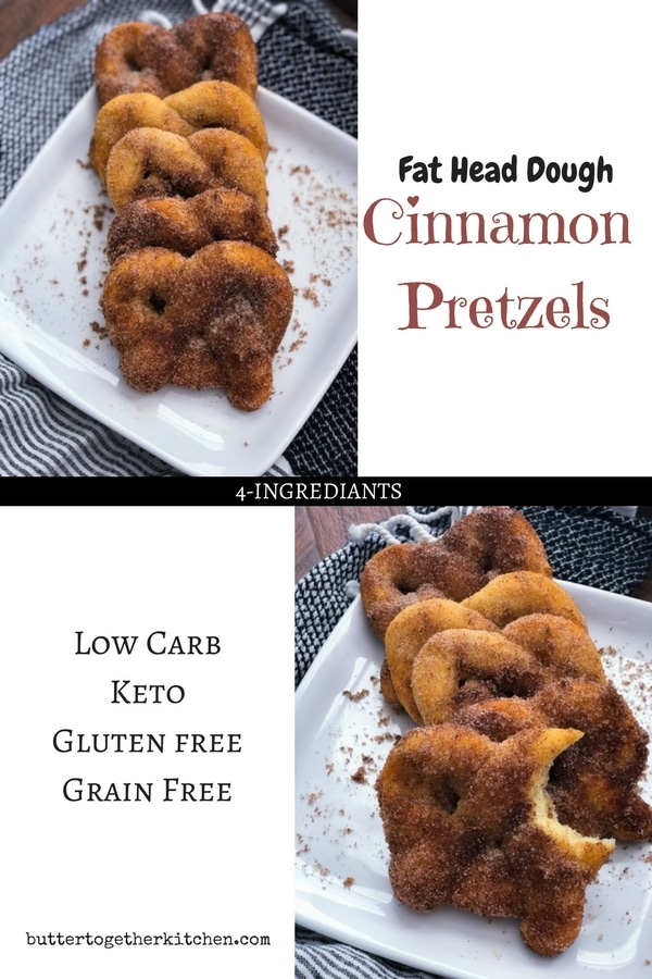 Fat Head Dough Cinnamon Pretzels - These Keto Cinnamon Pretzels are the perfect snack, especially when you're craving something sweet! #fatheaddough #keto #ketosnacks #ketodesserts #pretzels #cinnamonpretzels #cinnamonsugar | buttertogetherkitchen.com
