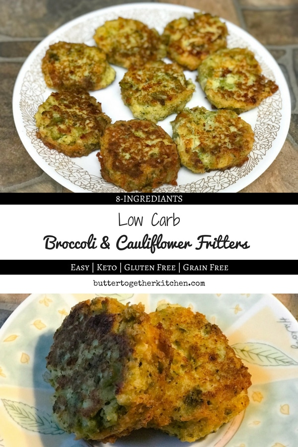 Keto Broccoli & Cauliflower Fritters - Easy to make cauliflower broccoli fritters that are crispy, savory, and can't-stop-at-one good! #keto #ketosnack #ketorecipe #lowcarb #easyrecipe #lowcarbsnack #cauliflower #broccoli #fritter #broccolicauliflowerfritters | buttertogetherkitchen.com