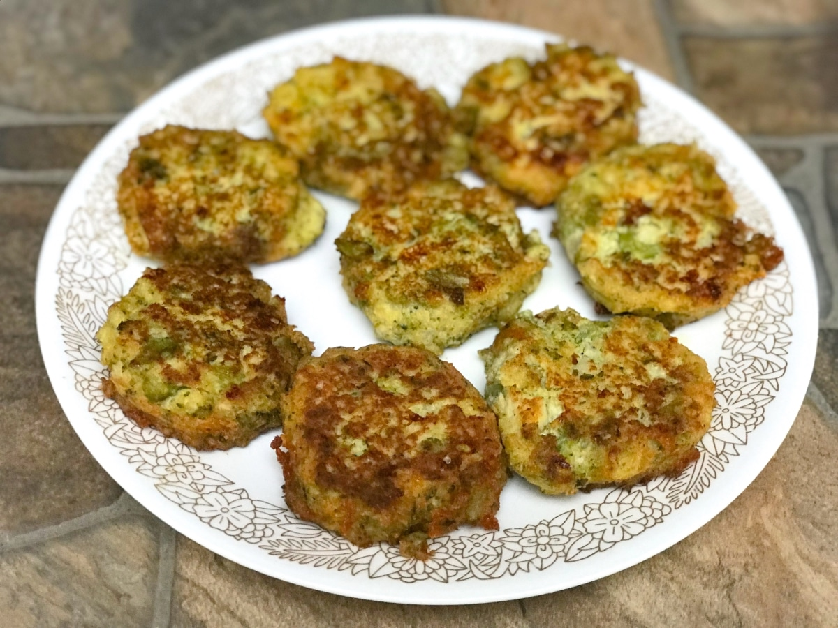 cauliflower broccoli fritters front center on a plate