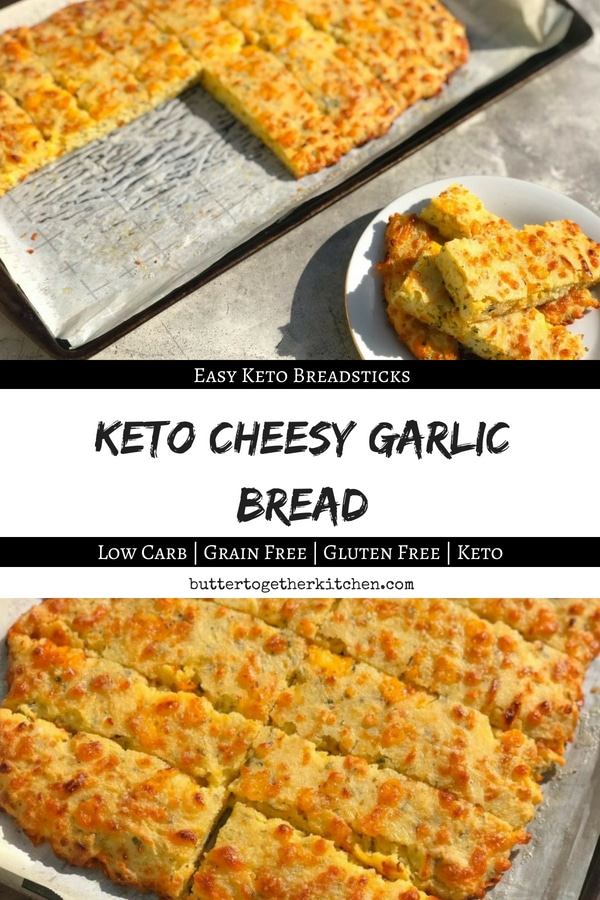 Soft and crispy is this buttery, cheesy, garlic bread! You are just minutes away from pure keto garlic-y bliss.
