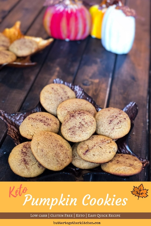 Keto Pumpkin Cookies #pumpkin #pumpkincookies #ketocookies #lowcarbcookies #pumpkinrecipes #pumpkindessert #ketodessert #ketorecipes #cookies #cookierecipe #ketocookierecipe | buttertogetherkitchen.com