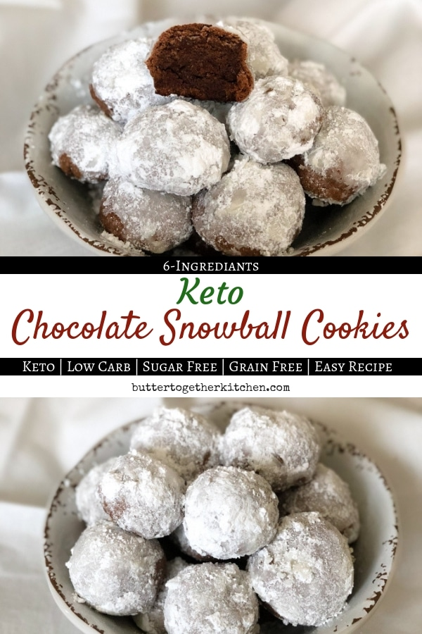 Keto Chocolate Snowball Cookies #snowballcookies #ketocookies #sugarfree #ketodessert #lowcarbcookies #ketorecipes #ketodiet #chocolatesnowballcookies | buttertogetherkitchen.com