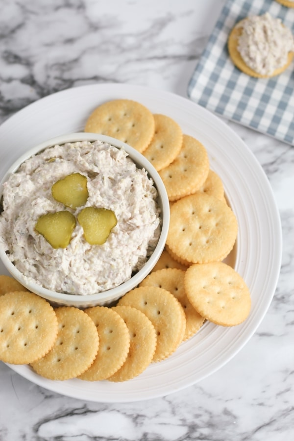 ham and pickle dip surrounded with crackers