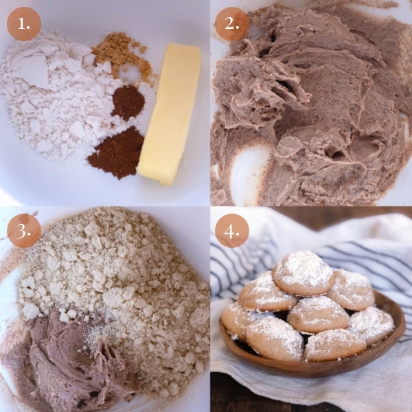 4 picture collage how to make keto ginger cookies