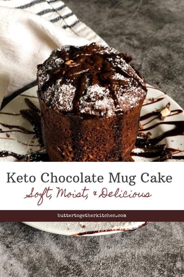 Best Chocolate Keto Mug Cake Recipe - 90 Seconds #keto #ketodessert #ketocake #ketomugcake #chocolatemugcake #ketorecipe #easyketorecipe #sugarfreecake | buttertogetherkitchen.com
