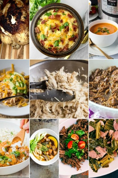 10 image collage for different instant pot recipes