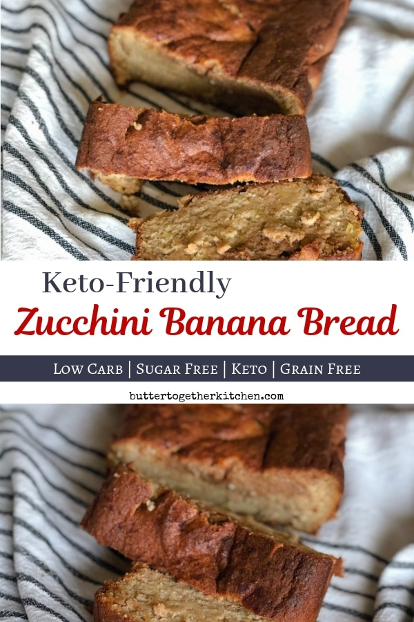Keto Zucchini Banana Bread - Soft and moist delicious bread! #ketozucchinibread #zucchinibananabread #ketozucchinibananabread #ketobread #lowcarbbread | buttertogetherkitchen.com