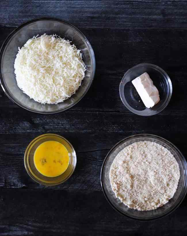 ingredients in a bowl to make keto fat head dough