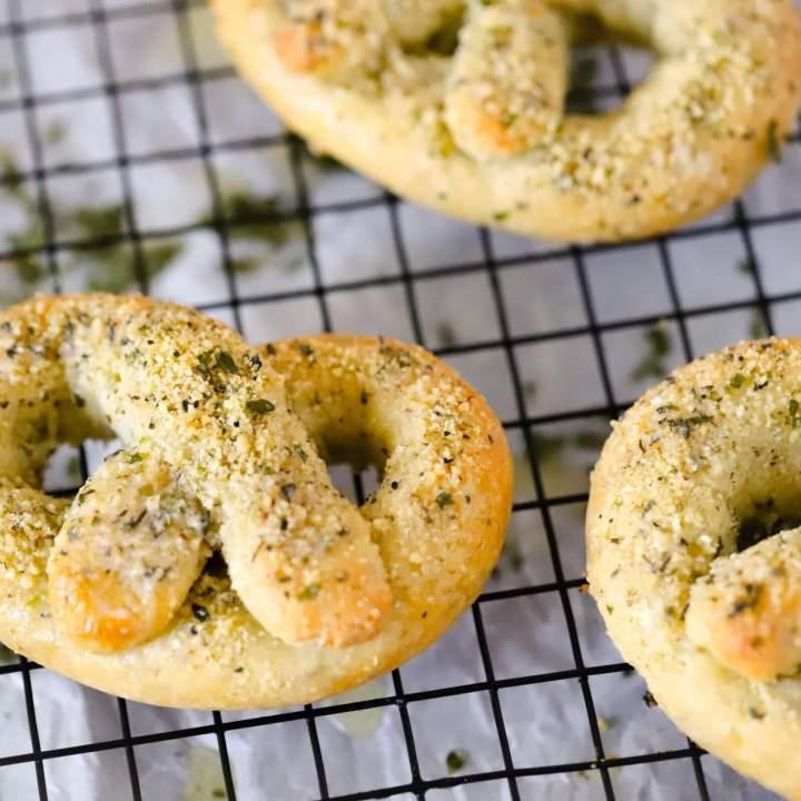 Garlic Parmesan Keto Pretzels