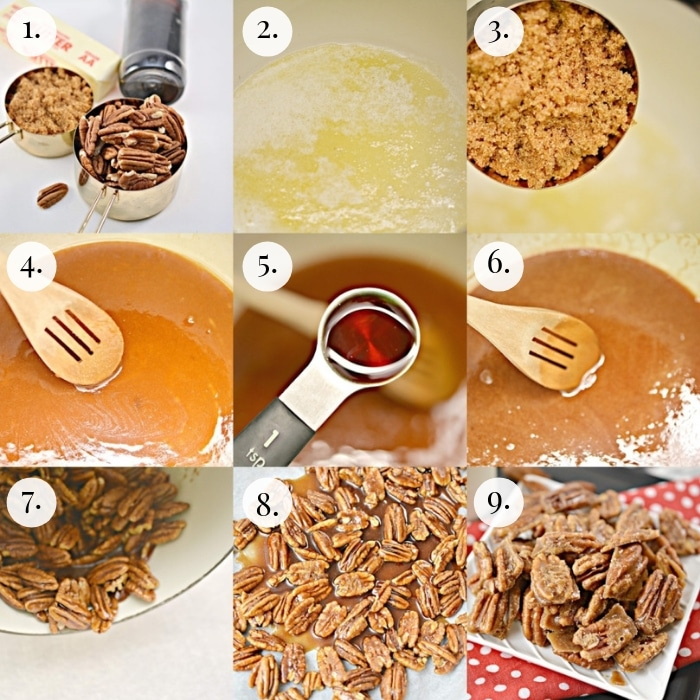 9 photo collage step by step how to make keto candied pecans