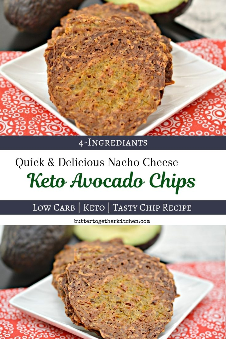 Nacho Cheese Keto Avocado Chips - These chips are an amazing quick go to snack!  Crunchy, crisp, and tasty #ketochips #ketocrisps #ketoavocadochips #avocadochips #lowcarbchips #ketosnack #lowcarbsnack | buttertogetherkitchen.com
