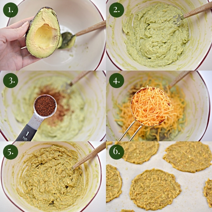 step by step six photo collage of how to make keto avocado chips