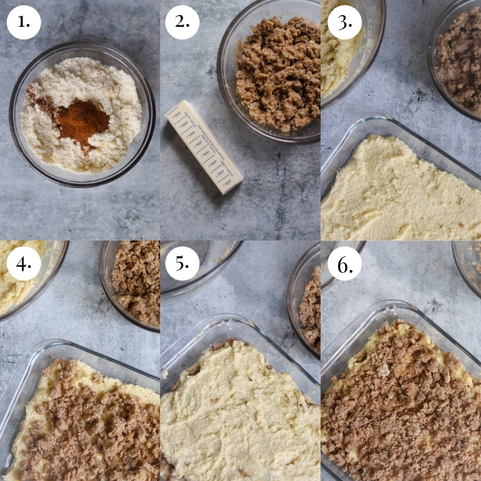 six photo collage of how to make the cinnamon crumble