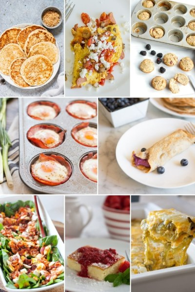 8 photo collage of different keto brunch recipes