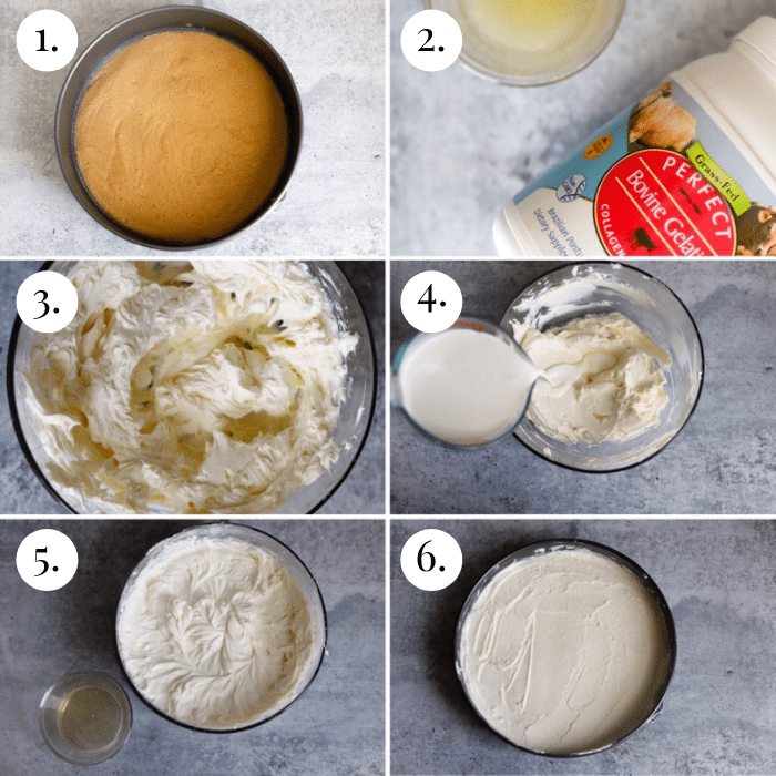 step by step 6 photo collage of how to make the keto cheesecake