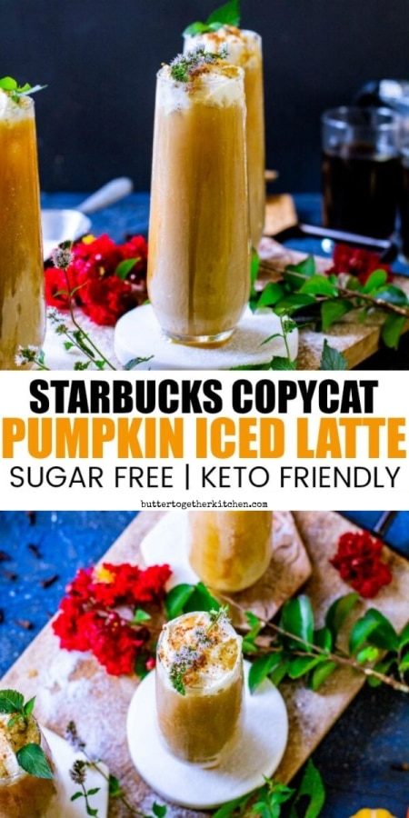 Keto Pumpkin Iced Latte - A delicious and refreshing keto pumpkin iced latte to satisfy fall cravings! #ketopumpkinlatte #ketoicedlatte #pumpkinlatte #ketodrink | buttertogetherkitchen.com