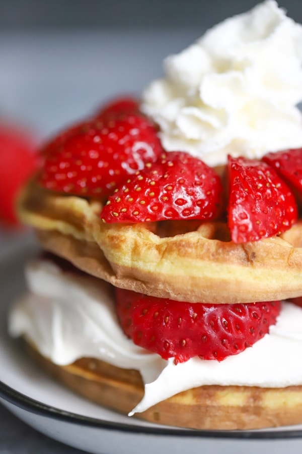 close up side view of keto strawberry shortcake chaffle