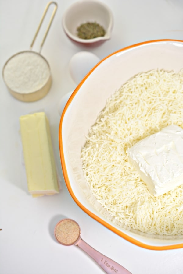 top view of all ingredients to make keto breadsticks
