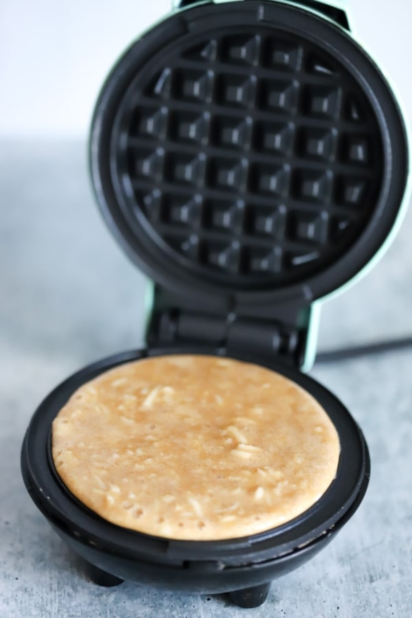 poured batter in the mini waffle griddle