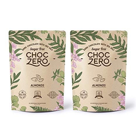 ChocZero's Keto Bark, Dark Chocolate Almonds with Sea Salt. Sugar Free, Low Carb. No Sugar Alcohols, No Artificial Sweeteners, All Natural