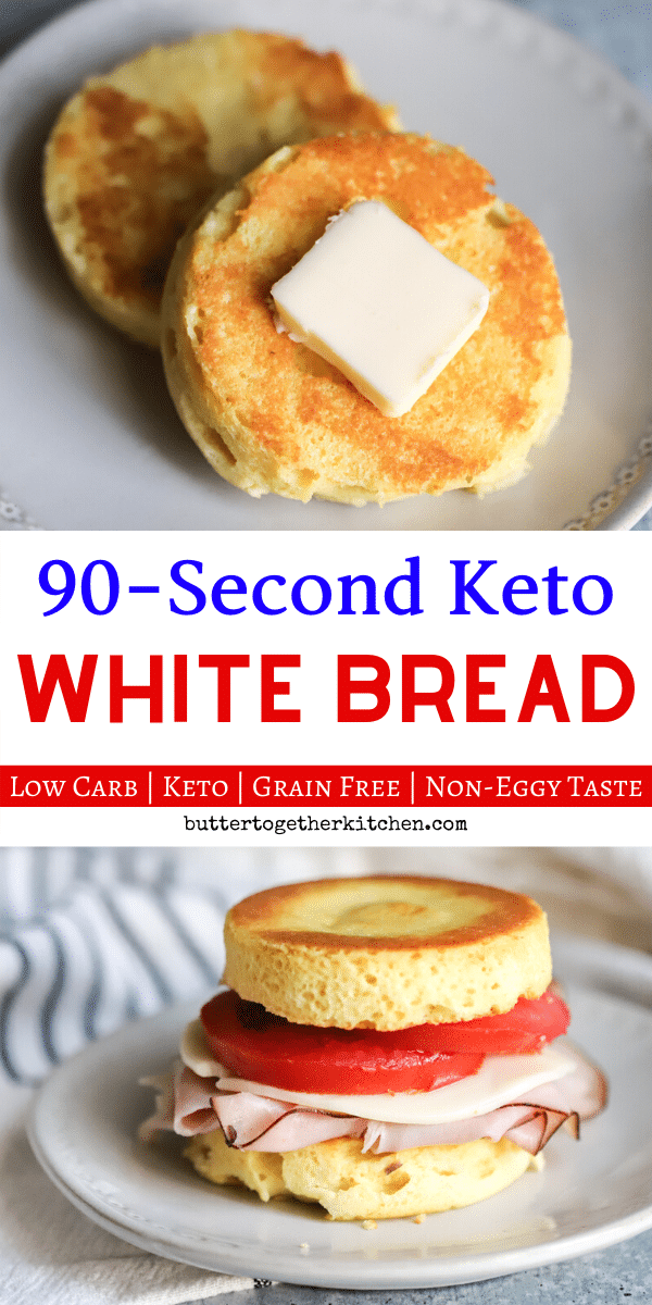 You're going to love this white bread version of the 90 second keto bread! This is the BEST 90 second keto bread you can try for toast, sandwiches and more! #ketobread #keto90secondbread #ketowhitebread #ketomugrecipe #ketobreadrecipe #lowcarbbread | buttertogetherkitchen.com