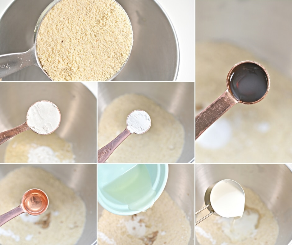 photo collage of steps on how to make the keto pancakes batter
