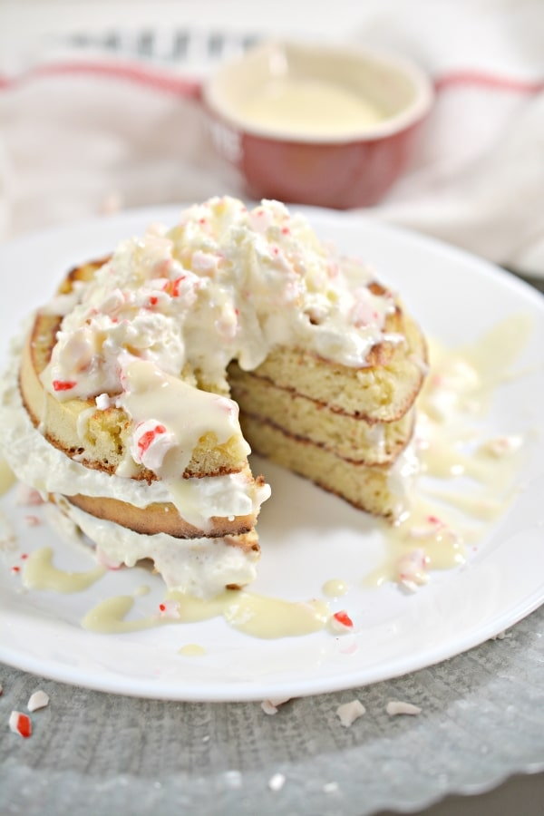 keto peppermint pancakes that are cut into