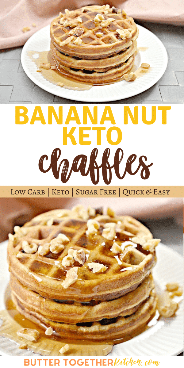 Easy and delicious Keto Banana Nut Chaffles! These sweet chaffles have the best flavor combination of bananas and nuts! #ketochaffles #ketobanananut #chaffles #ketodessertchaffles #sweetchaffles