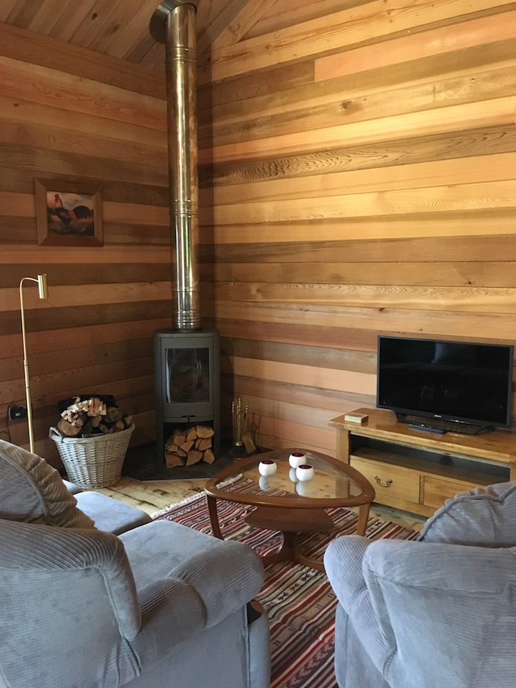 cosy living room with log burner asian paint wall texture designs for cottage in cornwall butterwell farm fishery bodmin holiday comfortable open planned area