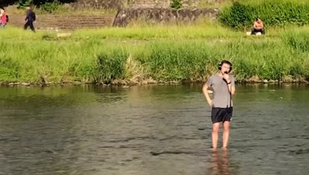 Austin Weber: THIS MAN FLEW TO JAPAN TO SING ABBA IN A BIG COLD RIVER - music videos - buttondown.tv