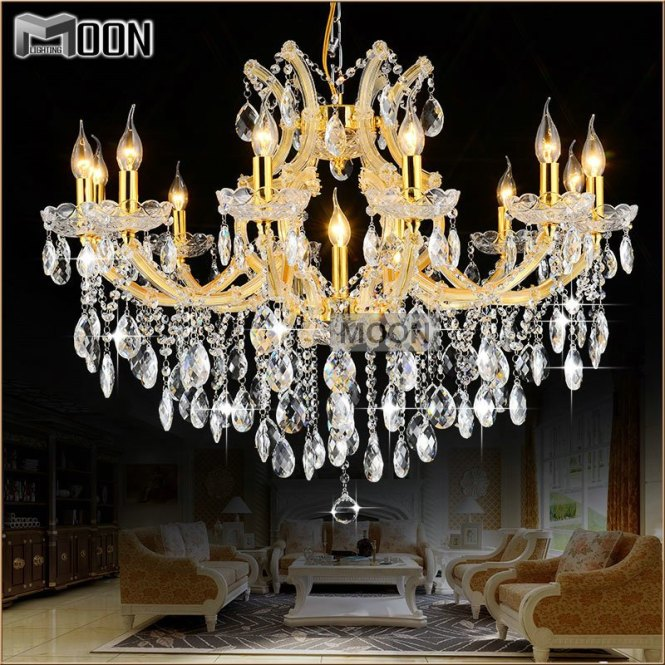 Maria Theresa Res Gold Glass Pendentes Lights 13 Lamps Incandescent Luminaire Chandelier Chrystal Lighting Fixture Living