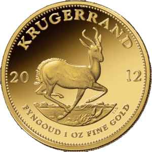 Krugerrand coins contain copper which makes them more reddish in color