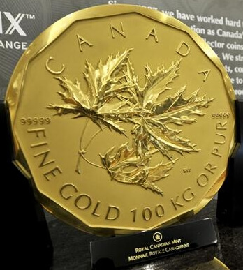 the undisputed heavyweight among the different sizes of gold bullion coins is the 100 kg Canadian Gold Maple Leaf coin