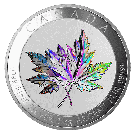 """the 1 kg Silver """"Maple Leaf Forever"""" holographic coins are still available for purchase online"""