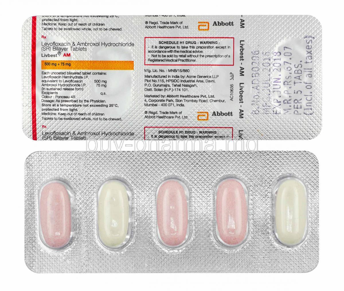 購買左氧氟沙星/氨溴索 片 ( Livbest Am (levofloxacin/ Ambroxol) ) Online