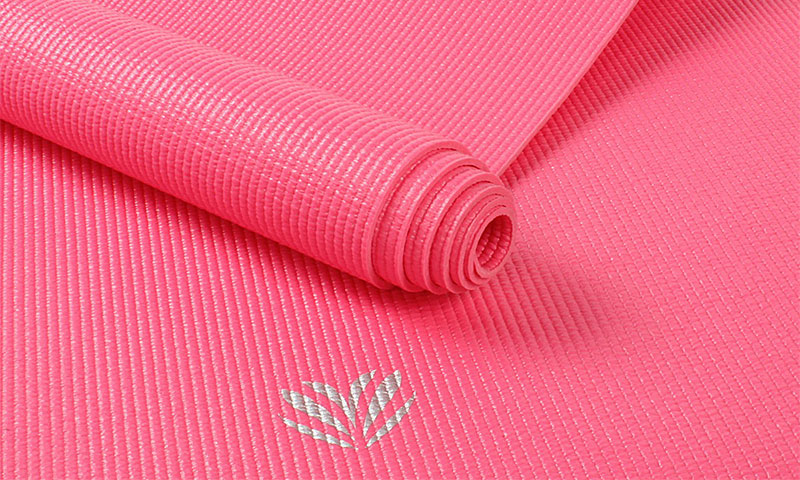 pink PVC yoga mat details