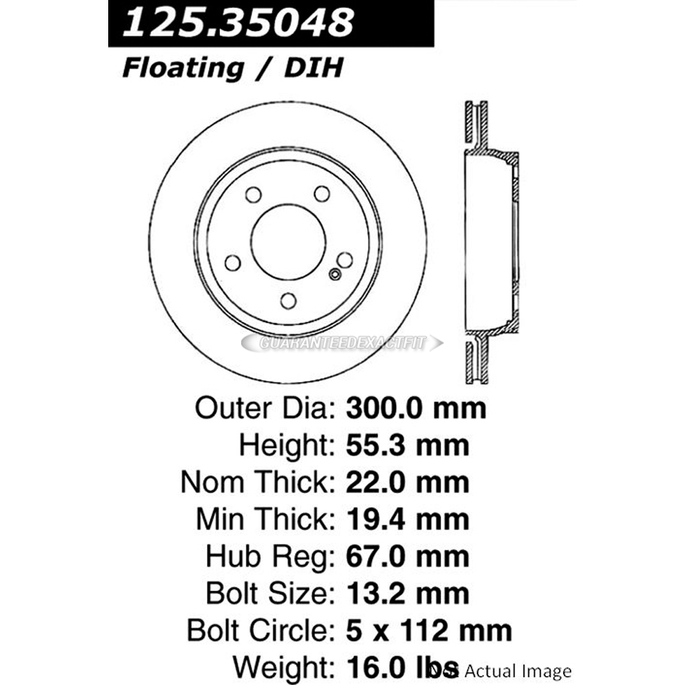 Centric Rear Brake Rotor Disc For Mercedes C43 AMG
