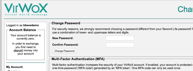 create password virwox